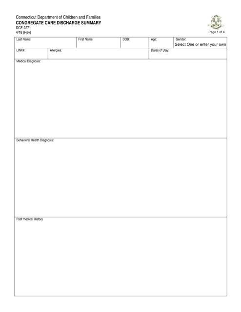 Form DCF-2271  Printable Pdf