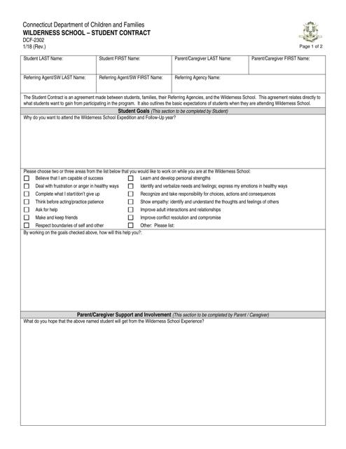 Form DCF-2302  Printable Pdf
