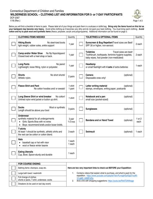 Form DCF-2307  Printable Pdf