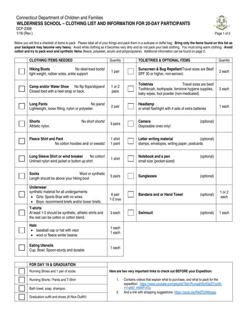Form DCF-2308  Printable Pdf