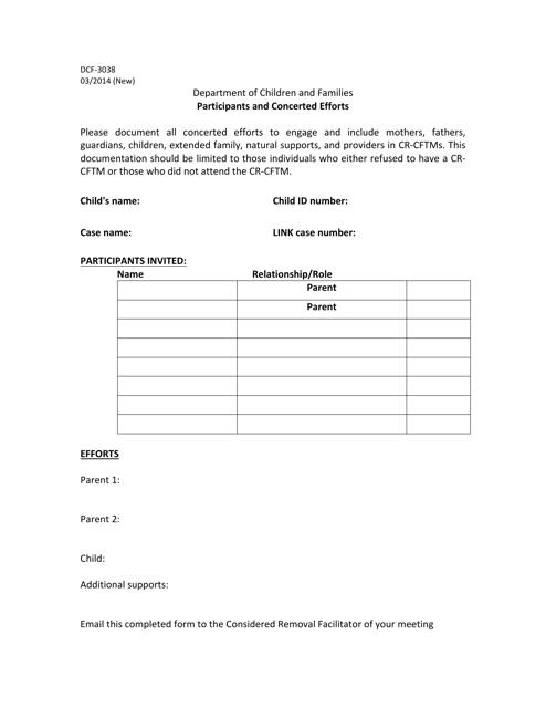 Form DCF-3038  Printable Pdf
