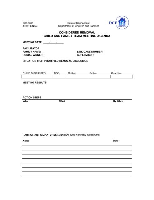 Form DCF-3035  Printable Pdf