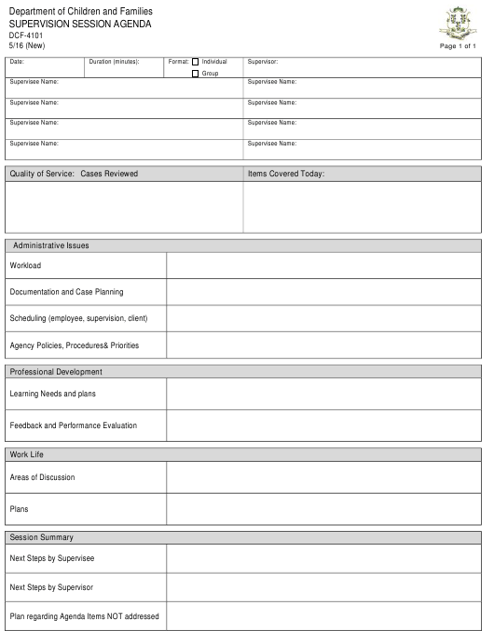 Form DCF-4101  Printable Pdf