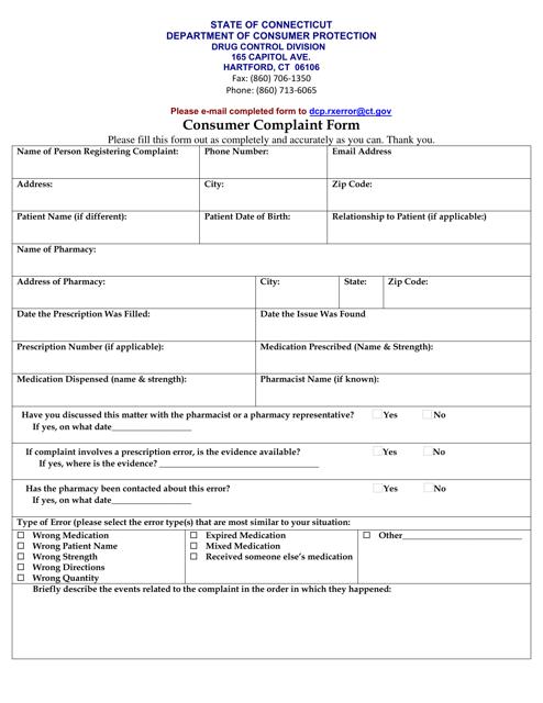 """Consumer Complaint Form - Prescription Error"" - Connecticut Download Pdf"