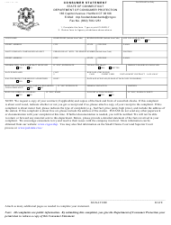 Form CPFR-2 Consumer Statement - Weights and Measures or Unit Pricing - Connecticut