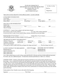 """""""Health Club Guaranty Fund Application - Club Closure"""" - Connecticut"""