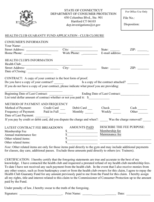 """Health Club Guaranty Fund Application - Club Closure"" - Connecticut Download Pdf"
