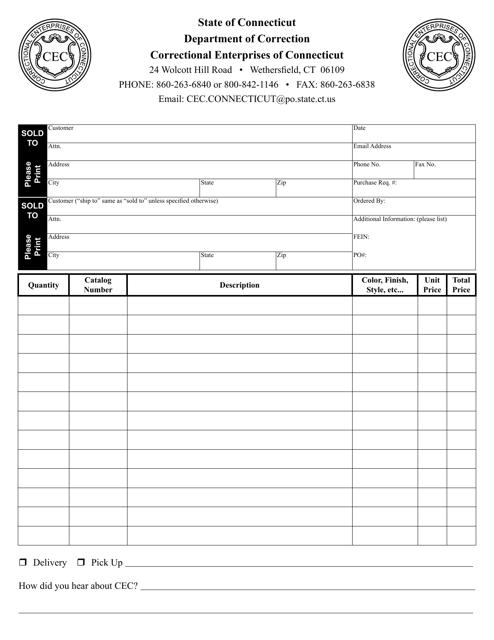 """Correctional Enterprise Order Form"" - Connecticut Download Pdf"