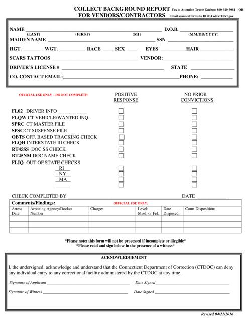 """Collect Background Report for Vendors/Contractors"" - Connecticut Download Pdf"