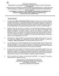 """Solicitud De Arbitraje - Programa De Resolucion De Disputas Sobre Automoviles"" - Connecticut (Spanish)"