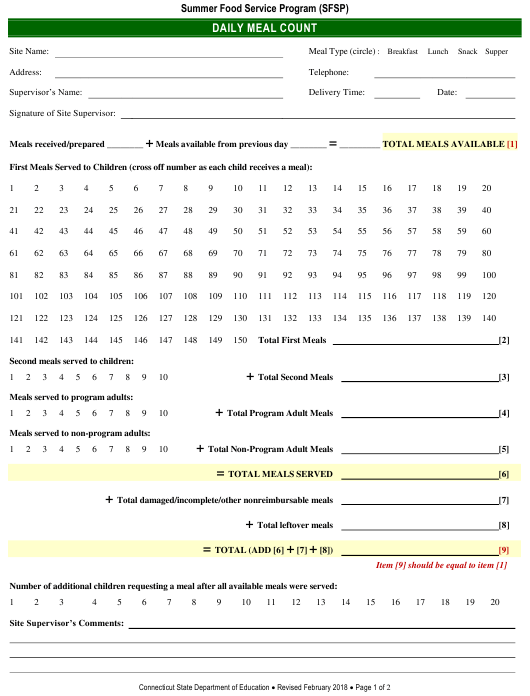 """""""Daily Meal Count Form"""" - Connecticut Download Pdf"""