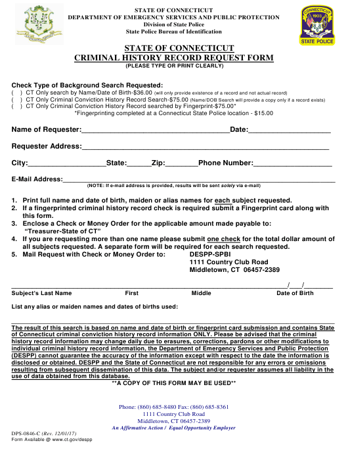 Form DPS-0846-C  Printable Pdf
