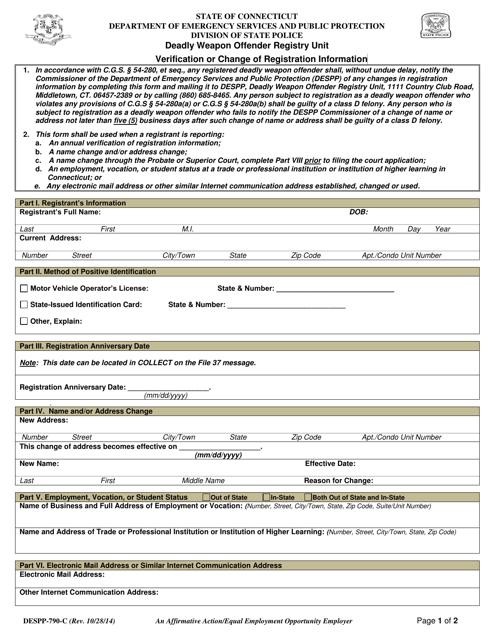 Form DESPP-790-C  Printable Pdf