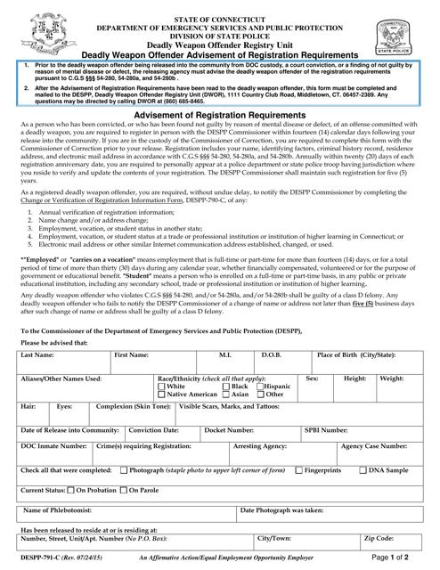 Form DESPP-791-C  Printable Pdf