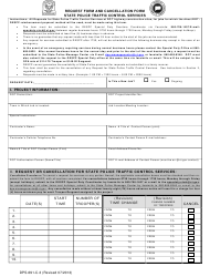 Form DPS-691-C-3 Request Form and Cancellation Form - State Police Traffic Control Services - Connecticut