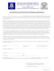 "Form DPS-249-C ""Authorization for Release of Personal Information"" - Connecticut"