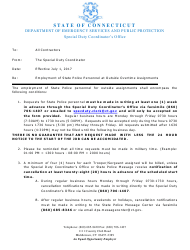 Form DPS-693-C-1 Request and Cancellation Form for State Police Traffic Services - Connecticut