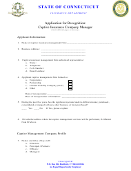 """""""Application for Recognition - Captive Insurance Company Manager"""" - Connecticut"""