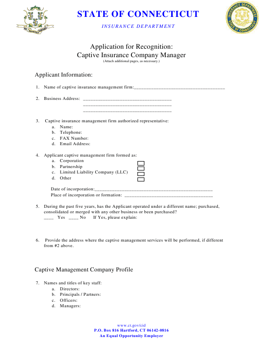 """Application for Recognition - Captive Insurance Company Manager"" - Connecticut Download Pdf"
