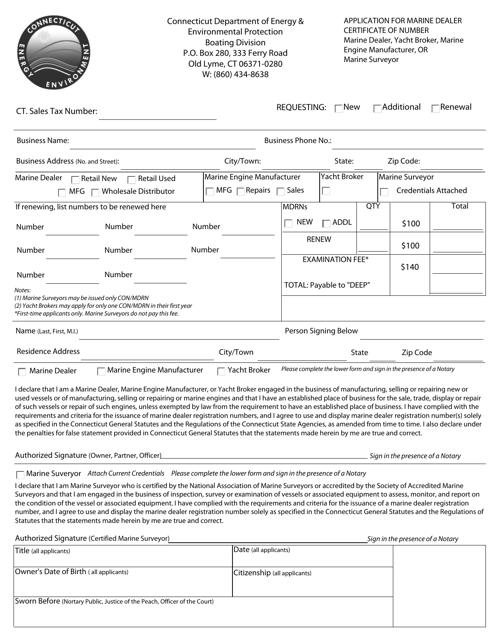 """Application for Marine Dealer Certificate of Number"" - Connecticut Download Pdf"