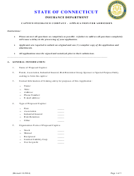 """""""Captive Insurance Company - Application for Admission"""" - Connecticut"""