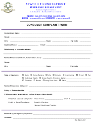 """Consumer Complaint Form"" - Connecticut"