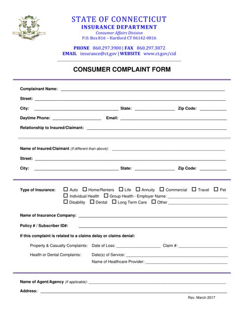 """""""Consumer Complaint Form"""" - Connecticut Download Pdf"""