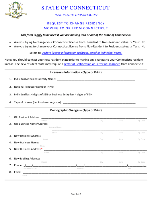 """Request to Change Residency Moving to or From Connecticut"" - Connecticut Download Pdf"