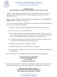 """Connecticut Surety Bail Bond Initial License Application Form"" - Connecticut"