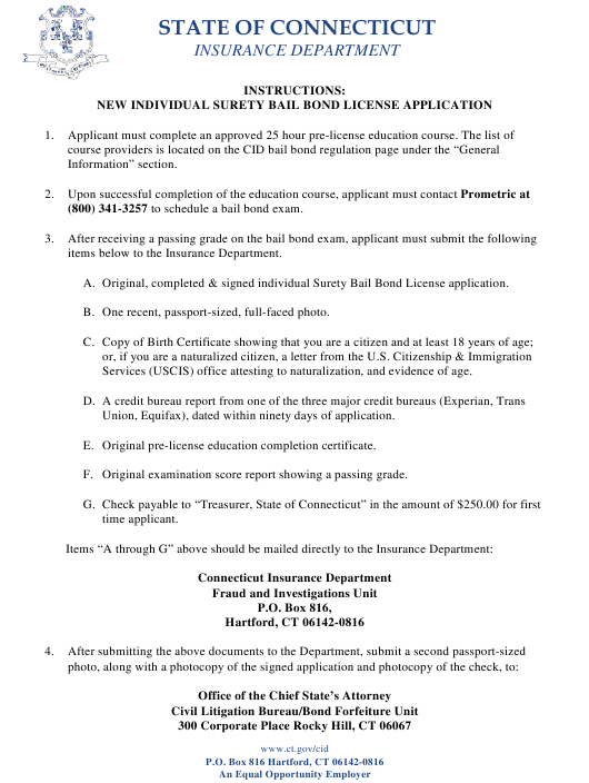 """Connecticut Surety Bail Bond Initial License Application Form"" - Connecticut Download Pdf"