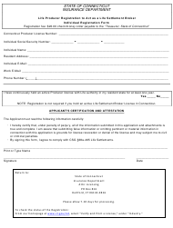 """Life Producer Registration to Act as a Life Settlement Broker Individual Registration Form"" - Connecticut"