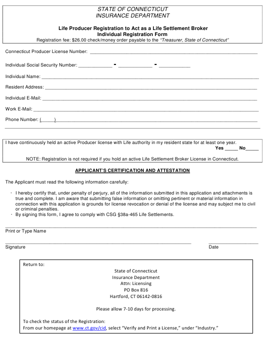 """Life Producer Registration to Act as a Life Settlement Broker Individual Registration Form"" - Connecticut Download Pdf"