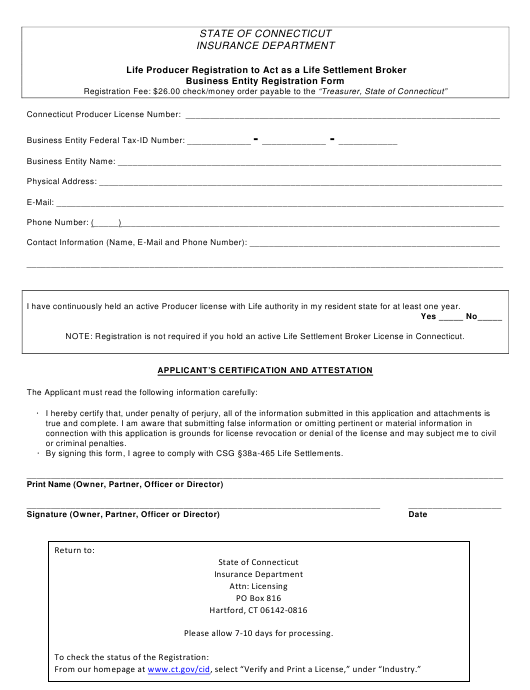 """""""Life Producer Registration to Act as a Life Settlement Broker Business Entity Registration Form"""" - Connecticut Download Pdf"""