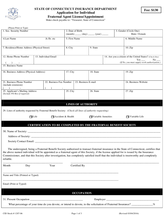 """""""Application for Individual Fraternal Agent License/Appointment"""" - Connecticut Download Pdf"""