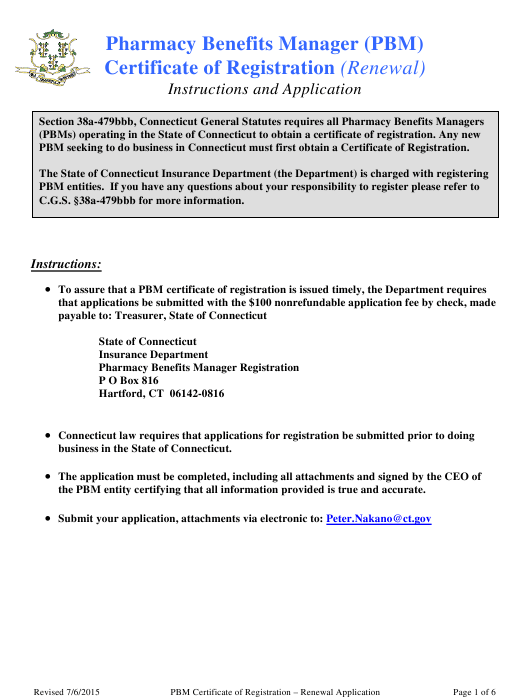 """""""Pharmacy Benefits Manager (Pbm) Renewal Application for a Certificate of Registration"""" - Connecticut Download Pdf"""