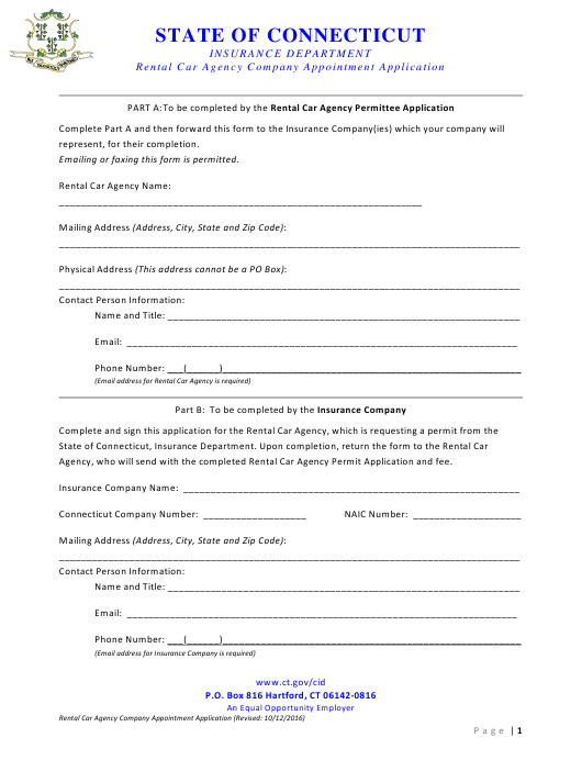 """Rental Car Agency Company Appointment Application Form"" - Connecticut Download Pdf"
