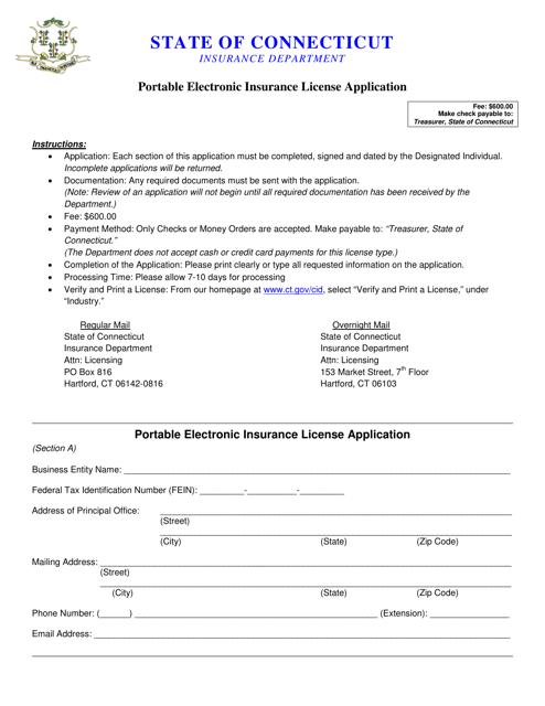 """Portable Electronic Insurance License Application Form"" - Connecticut Download Pdf"