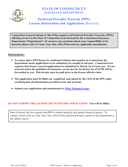 """Preferred Provider Network (Ppn) License Renewal Application Form (Renewal)"" - Connecticut Download Pdf"