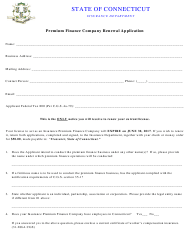 """Premium Finance Company Renewal Application Form"" - Connecticut"
