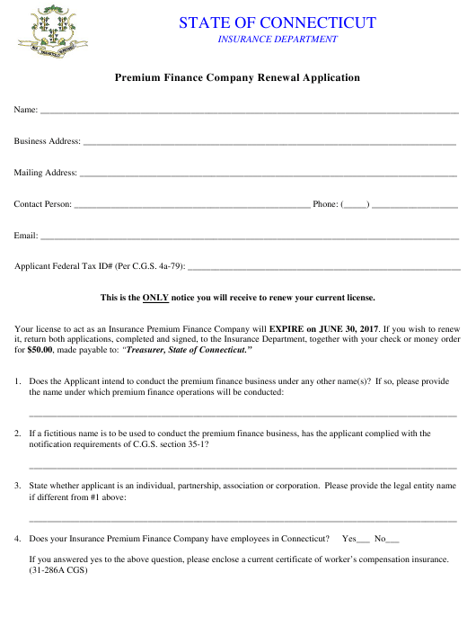 """Premium Finance Company Renewal Application Form"" - Connecticut Download Pdf"