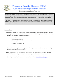 Pharmacy Benefits Manager Certificate of Registration - Initial Application Form - Connecticut