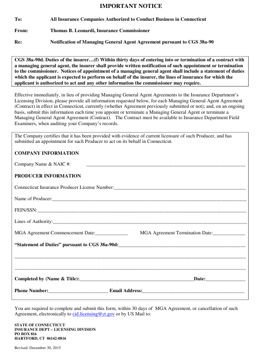 """General Agent Agreement Form"" - Connecticut Download Pdf"