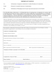 General Agent Agreement Form - Connecticut