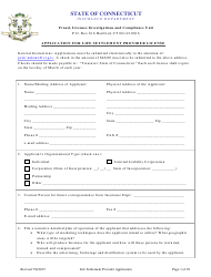 Application for Life Settlement Provider License - Connecticut