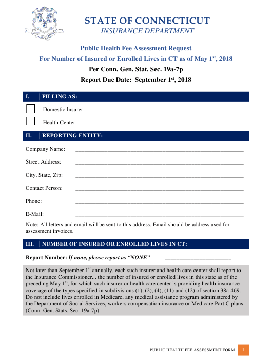 """Public Health Fee Assessment Request"" - Connecticut Download Pdf"