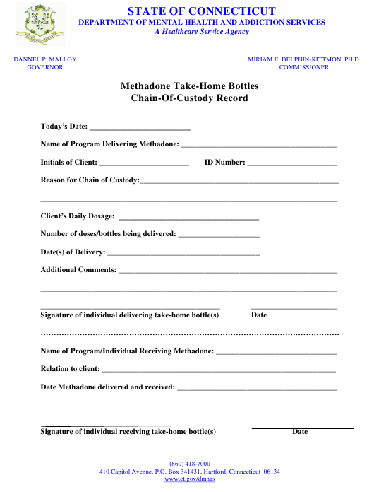 """Methadone Take-Home Bottles Chain-Of-Custody Record Form"" - Connecticut Download Pdf"