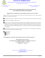 """Application for Certification of Intermediate Duration Acute Care Beds"" - Connecticut"