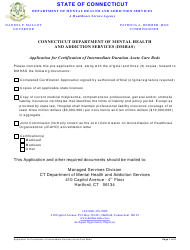 Application for Certification of Intermediate Duration Acute Care Beds - Connecticut