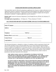 Utilization Review License Application Form - Connecticut