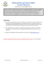 """""""Medical Discount Plant (Mdp) License Renewal Form"""" - Connecticut"""